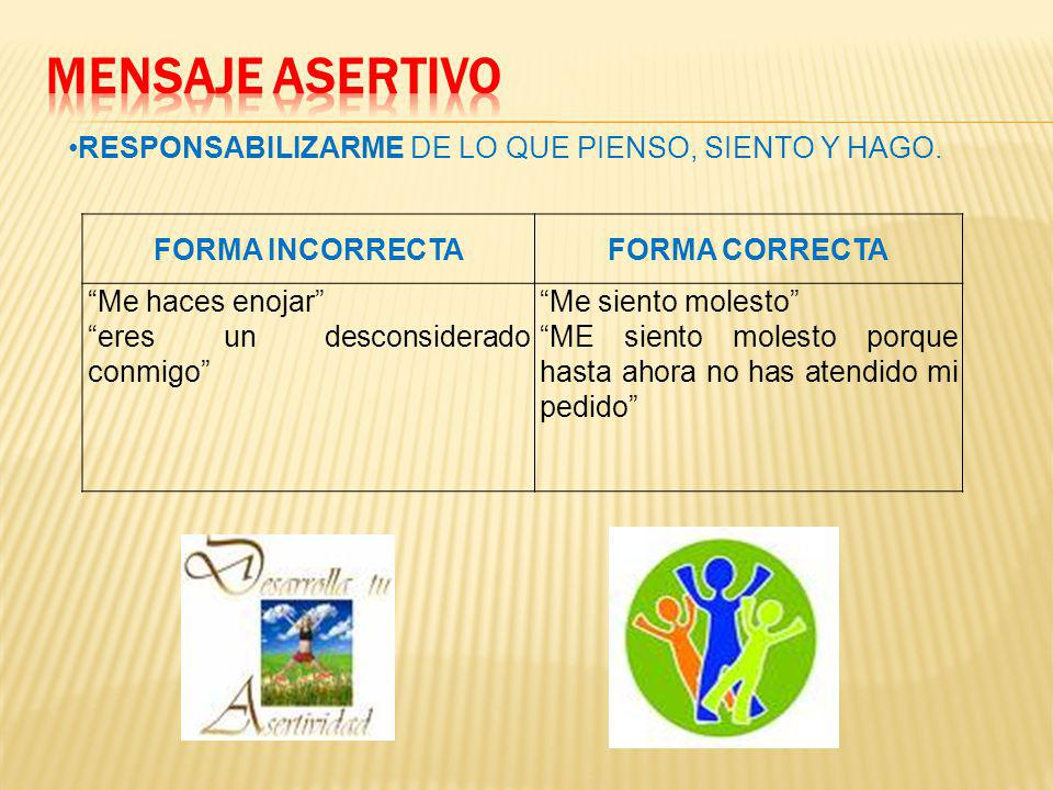 MENSAJE ASERTIVO RESPONSABILIZARME DE LO QUE PIENSO, SIENTO Y HAGO.