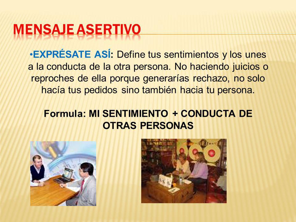 Formula: MI SENTIMIENTO + CONDUCTA DE OTRAS PERSONAS