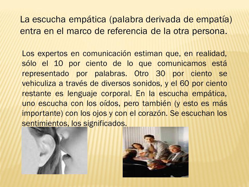 La escucha empática (palabra derivada de empatía) entra en el marco de referencia de la otra persona.