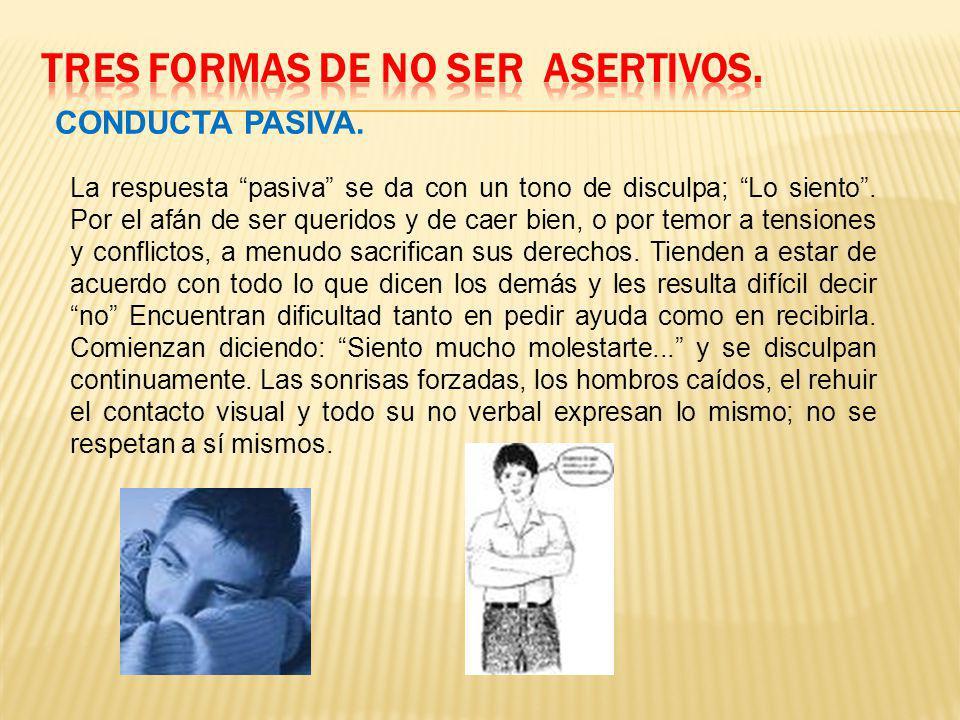 TRES FORMAS DE NO SER ASERTIVOS.