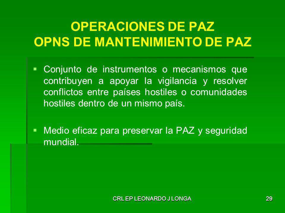 OPERACIONES DE PAZ OPNS DE MANTENIMIENTO DE PAZ