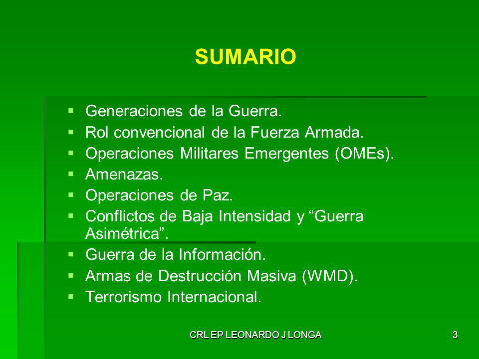 SUMARIO Generaciones de la Guerra.