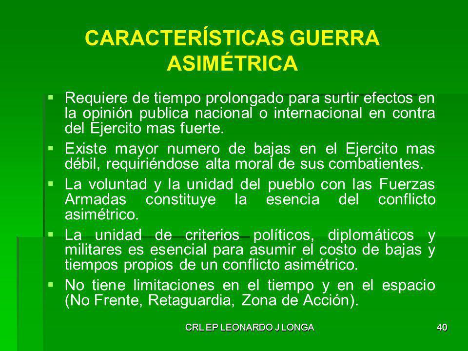 CARACTERÍSTICAS GUERRA ASIMÉTRICA