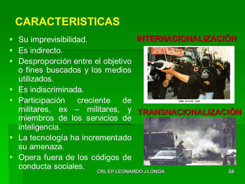CARACTERISTICAS INTERNACIONALIZACIÓN Su imprevisibilidad.