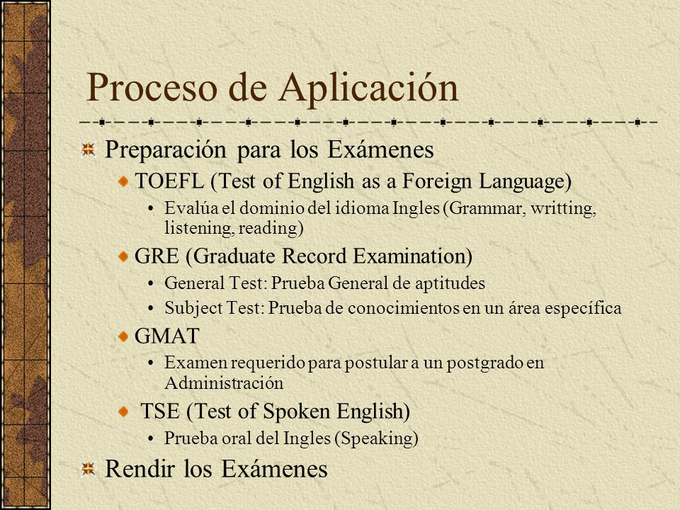 Proceso de Aplicación Preparación para los Exámenes
