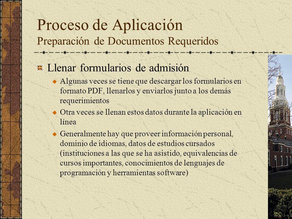 Proceso de Aplicación Preparación de Documentos Requeridos