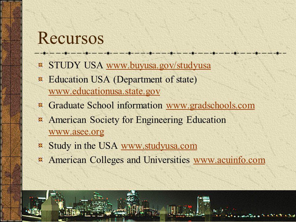 Recursos STUDY USA www.buyusa.gov/studyusa