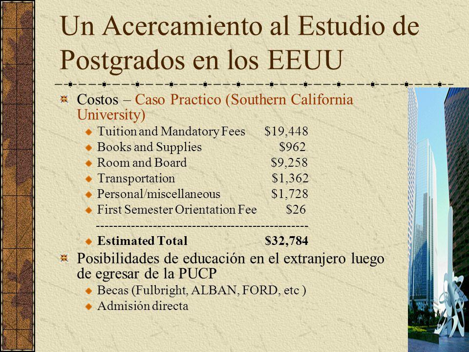 Un Acercamiento al Estudio de Postgrados en los EEUU