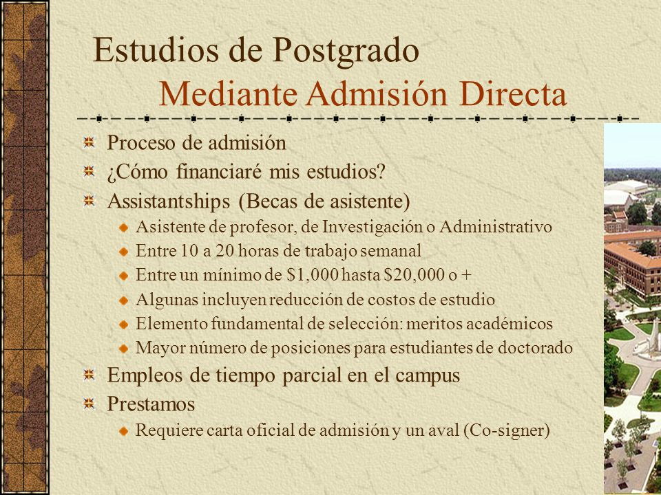 Estudios de Postgrado Mediante Admisión Directa