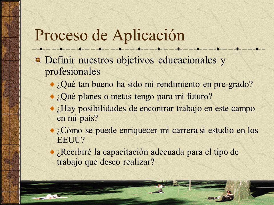 Proceso de Aplicación Definir nuestros objetivos educacionales y profesionales. ¿Qué tan bueno ha sido mi rendimiento en pre-grado