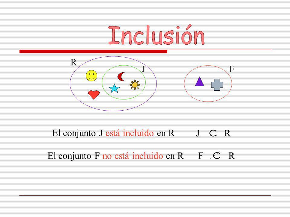 Inclusión R J F El conjunto J está incluido en R J C R