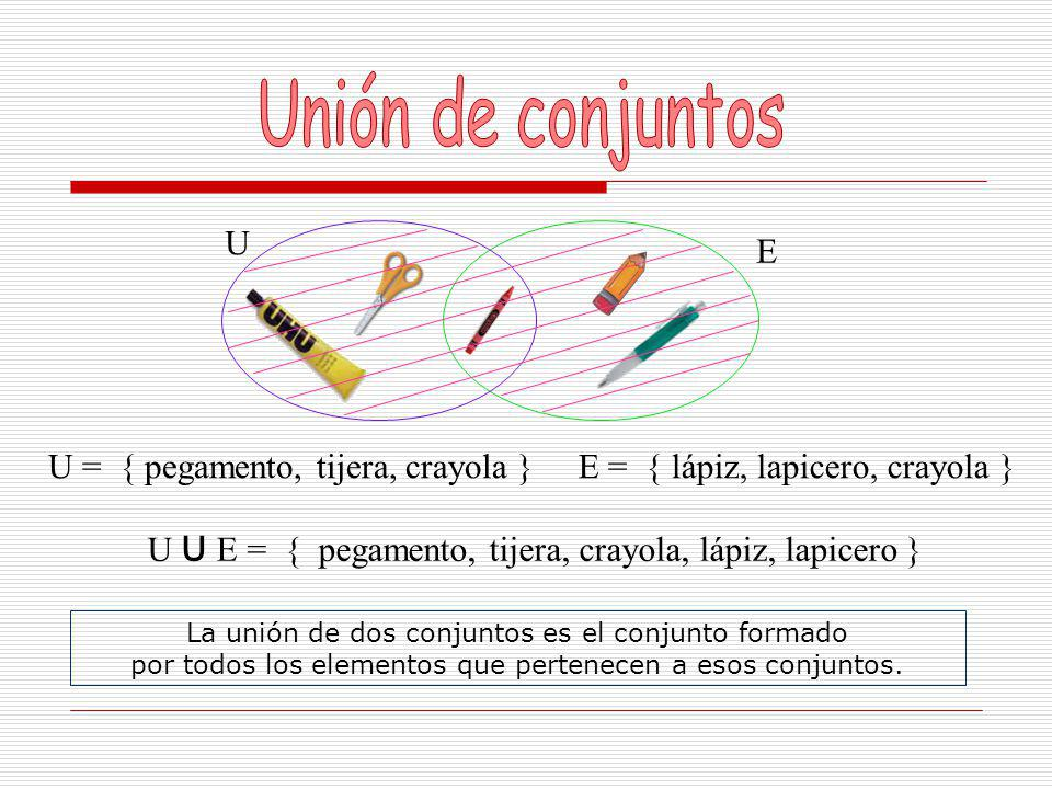 Unión de conjuntos U E U = { pegamento, tijera, crayola }