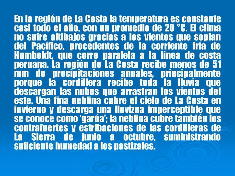 En la región de La Costa la temperatura es constante casi todo el año, con un promedio de 20 °C.