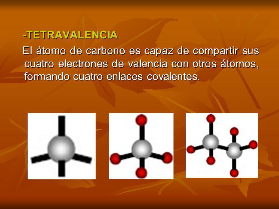 -TETRAVALENCIA El átomo de carbono es capaz de compartir sus cuatro electrones de valencia con otros átomos, formando cuatro enlaces covalentes.