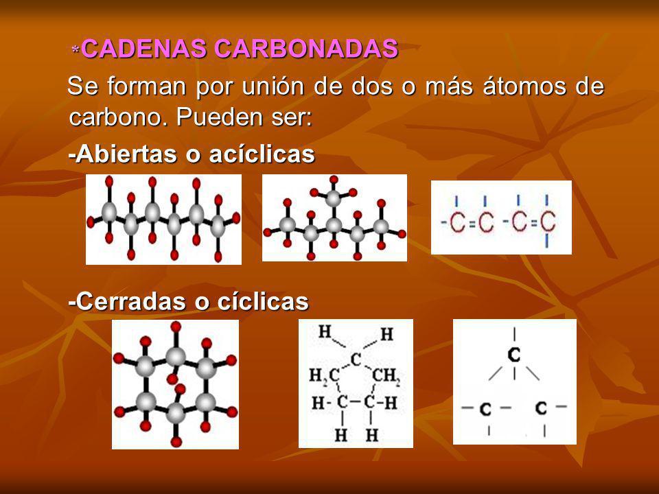 Se forman por unión de dos o más átomos de carbono. Pueden ser: