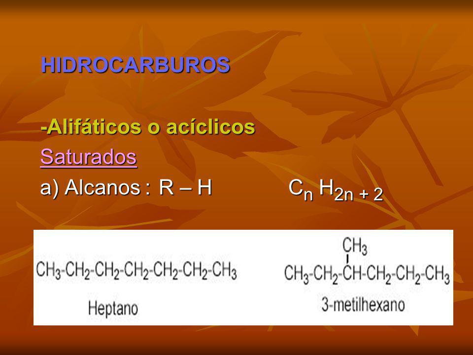 HIDROCARBUROS -Alifáticos o acíclicos Saturados