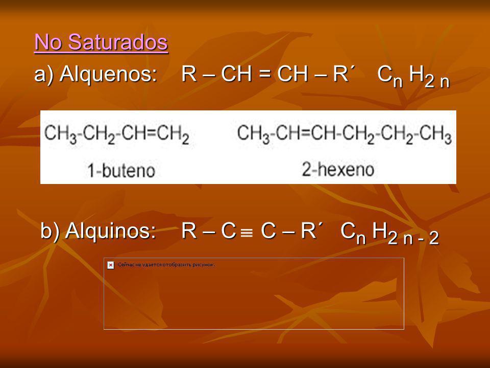 No Saturados a) Alquenos: R – CH = CH – R´ Cn H2 n b) Alquinos: R – C C – R´ Cn H2 n - 2 