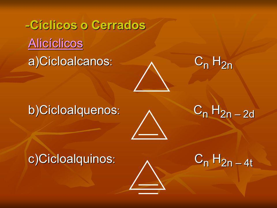 -Cíclicos o Cerrados Alicíclicos a)Cicloalcanos: Cn H2n