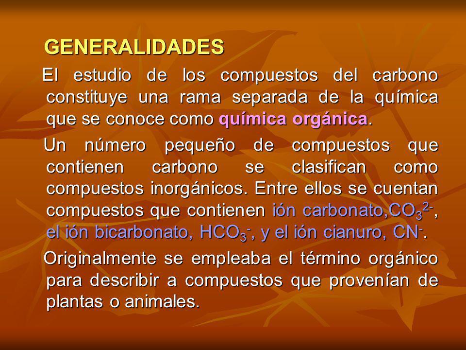 GENERALIDADES El estudio de los compuestos del carbono constituye una rama separada de la química que se conoce como química orgánica.
