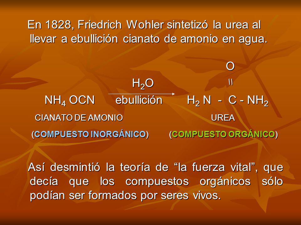 En 1828, Friedrich Wohler sintetizó la urea al llevar a ebullición cianato de amonio en agua.