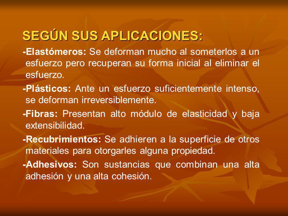 SEGÚN SUS APLICACIONES:
