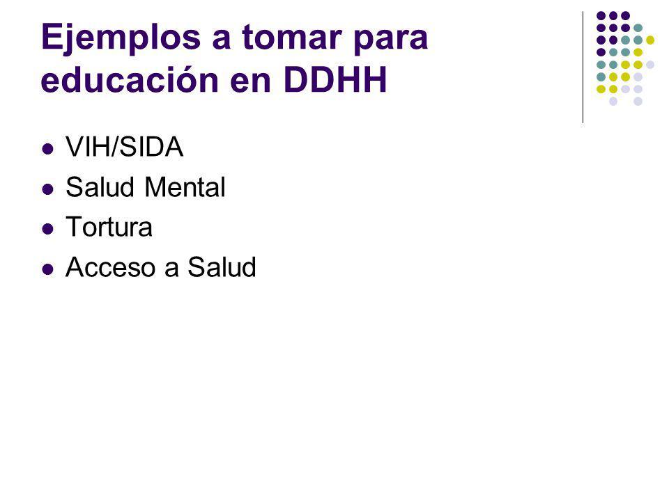 Ejemplos a tomar para educación en DDHH