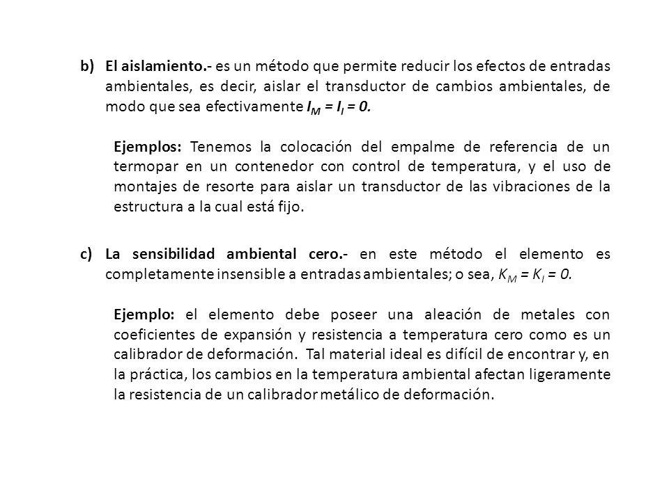 El aislamiento.- es un método que permite reducir los efectos de entradas ambientales, es decir, aislar el transductor de cambios ambientales, de modo que sea efectivamente IM = II = 0.