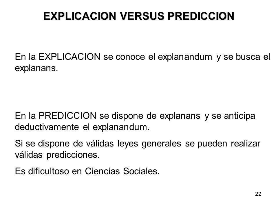 EXPLICACION VERSUS PREDICCION