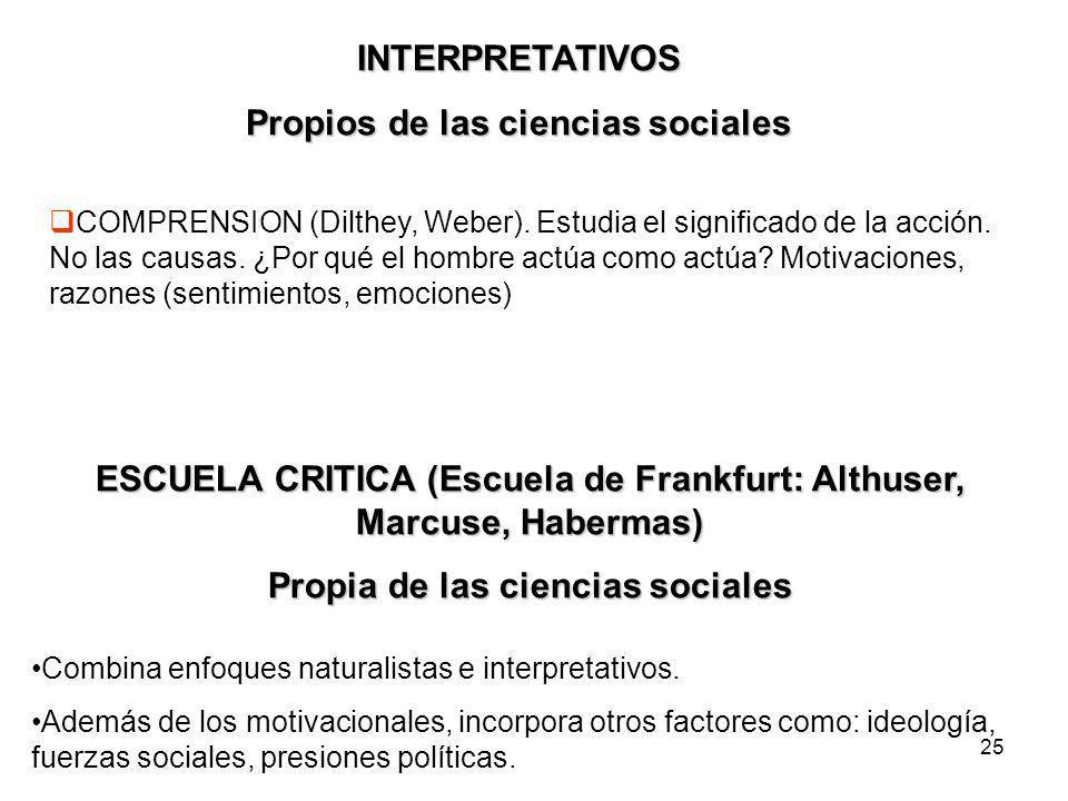 Propios de las ciencias sociales