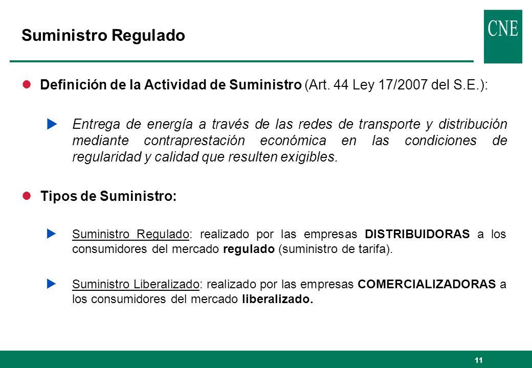 Suministro Regulado Definición de la Actividad de Suministro (Art. 44 Ley 17/2007 del S.E.):