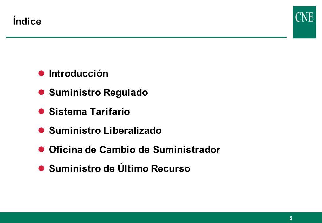 Índice Introducción. Suministro Regulado. Sistema Tarifario. Suministro Liberalizado. Oficina de Cambio de Suministrador.
