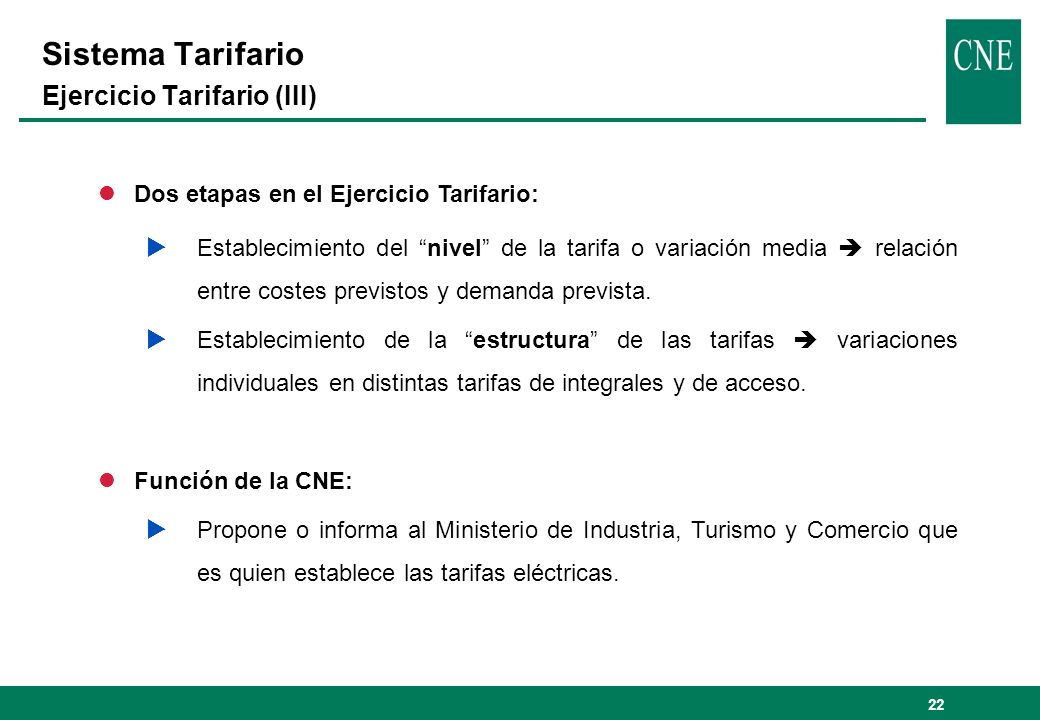 Sistema Tarifario Ejercicio Tarifario (III)