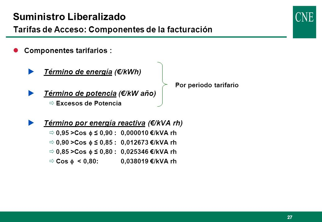 Suministro Liberalizado Tarifas de Acceso: Componentes de la facturación