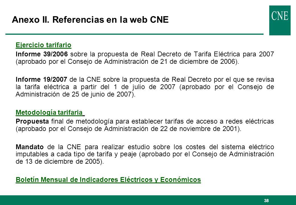 Anexo II. Referencias en la web CNE