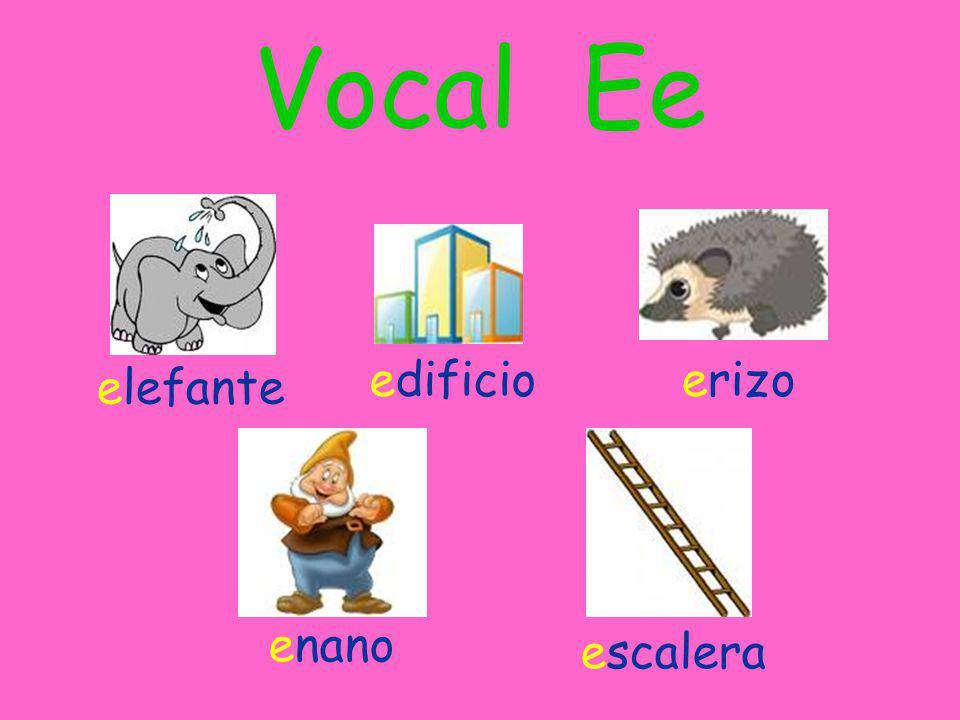 Vocal Ee edificio erizo elefante enano escalera