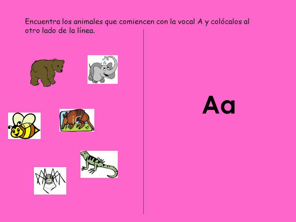 Encuentra los animales que comiencen con la vocal A y colócalos al otro lado de la línea.