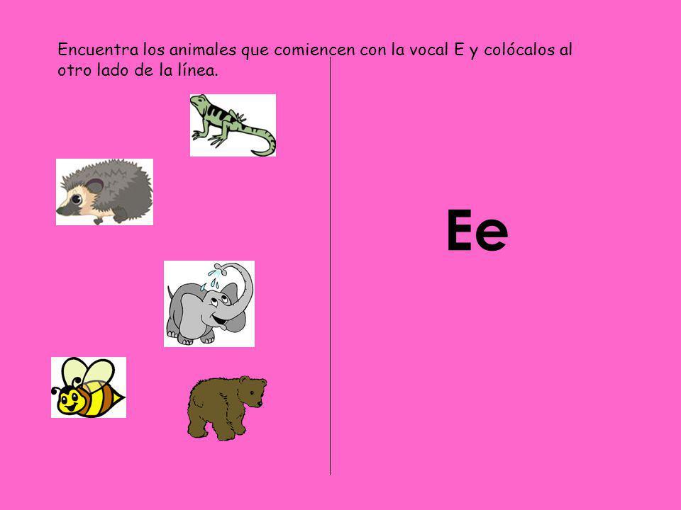 Encuentra los animales que comiencen con la vocal E y colócalos al otro lado de la línea.