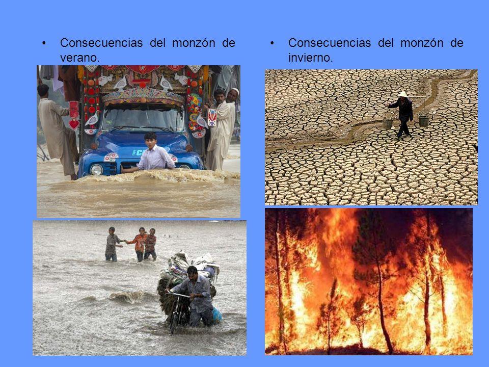 Consecuencias del monzón de verano.