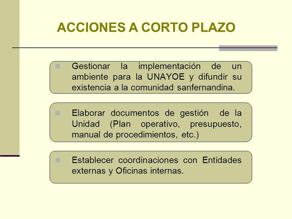 ACCIONES A CORTO PLAZO Gestionar la implementación de un ambiente para la UNAYOE y difundir su existencia a la comunidad sanfernandina.