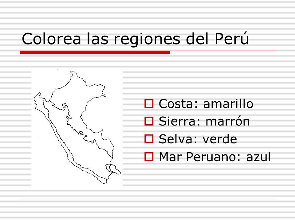 Colorea las regiones del Perú