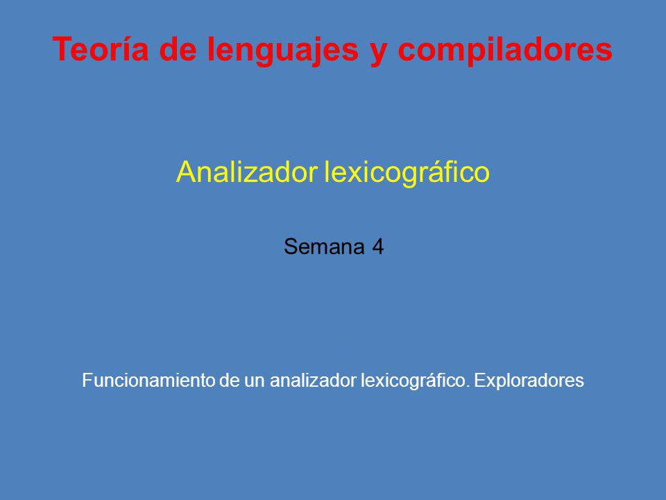 Teoría de lenguajes y compiladores