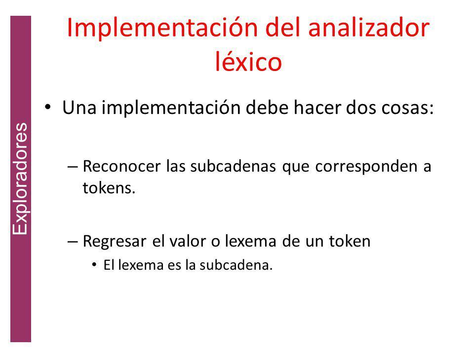 Implementación del analizador léxico