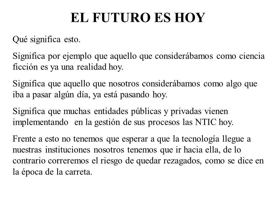 EL FUTURO ES HOY Qué significa esto.