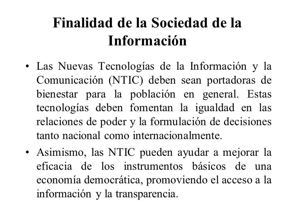Finalidad de la Sociedad de la Información