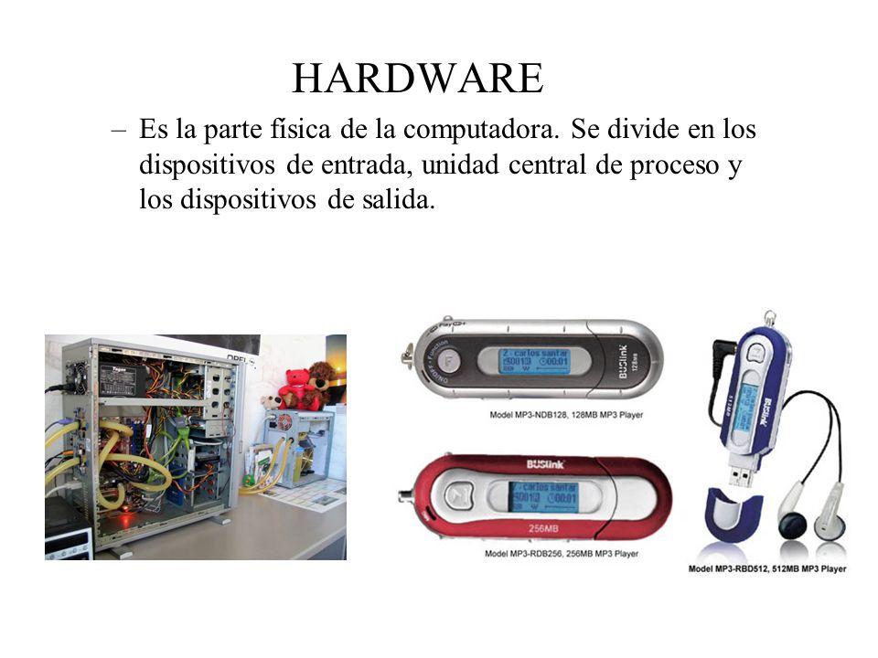 HARDWARE Es la parte física de la computadora.
