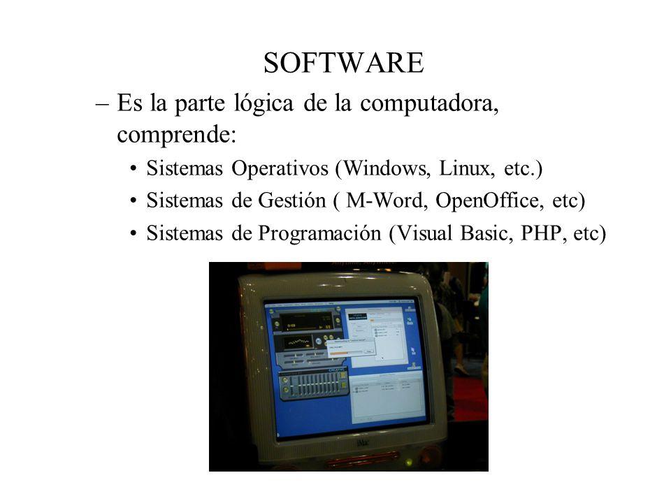 SOFTWARE Es la parte lógica de la computadora, comprende: