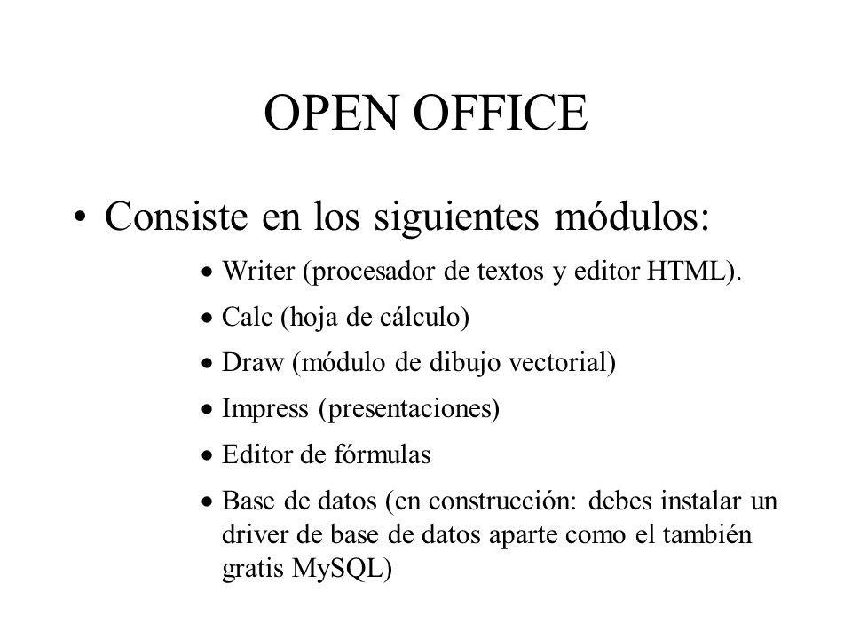 OPEN OFFICE Consiste en los siguientes módulos: