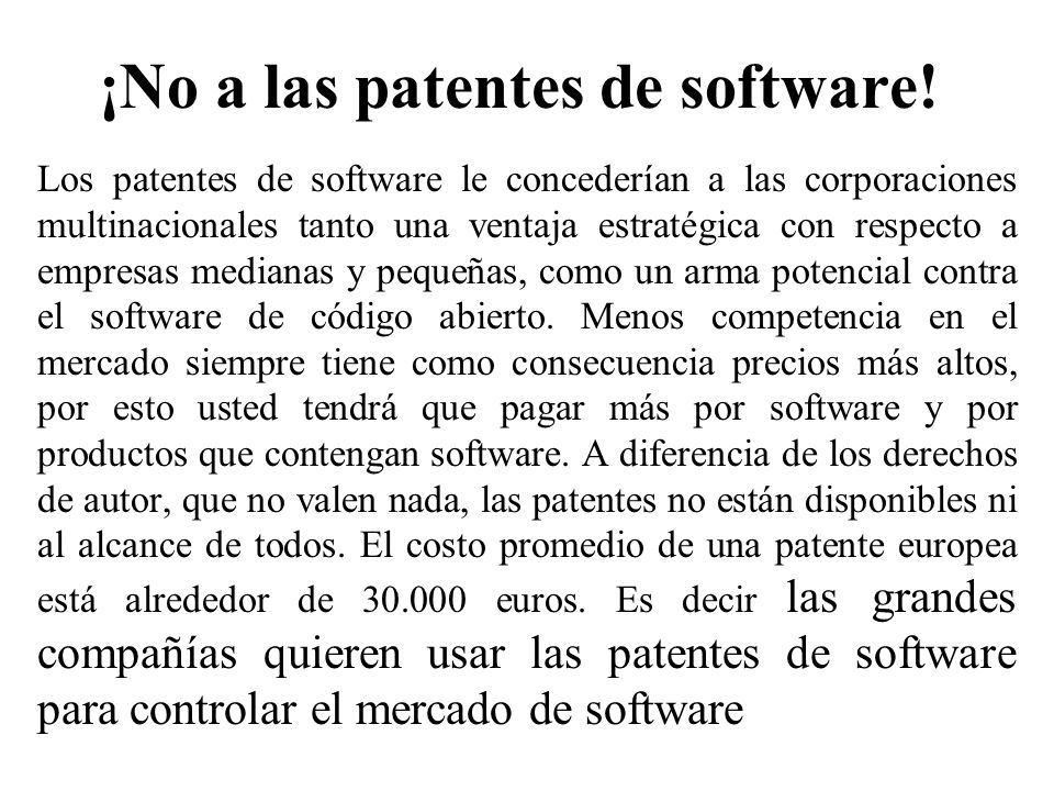 ¡No a las patentes de software!