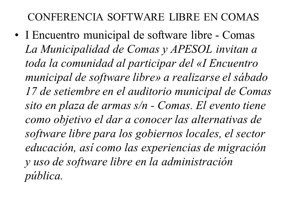 CONFERENCIA SOFTWARE LIBRE EN COMAS