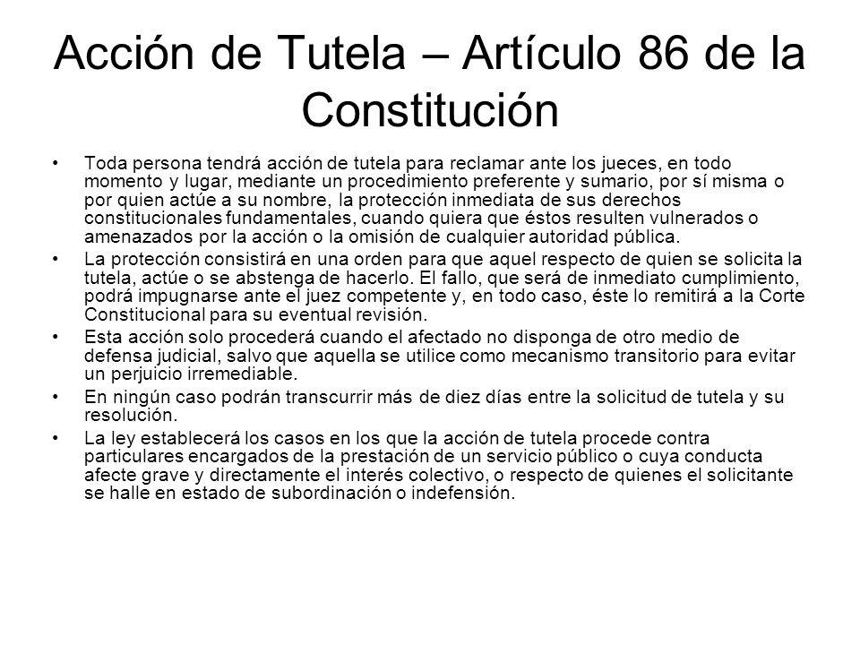 Acción de Tutela – Artículo 86 de la Constitución